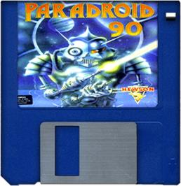 Cartridge artwork for Paradroid 90 on the Commodore Amiga.