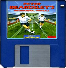 Cartridge artwork for Peter Beardsley's International Football on the Commodore Amiga.