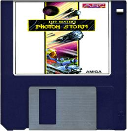 Cartridge artwork for Photon Storm on the Commodore Amiga.
