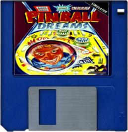 Cartridge artwork for Pinball Dreams on the Commodore Amiga.