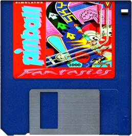 Cartridge artwork for Pinball Fantasies on the Commodore Amiga.