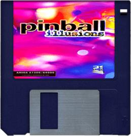 Cartridge artwork for Pinball Illusions on the Commodore Amiga.