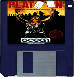 Cartridge artwork for Platoon on the Commodore Amiga.