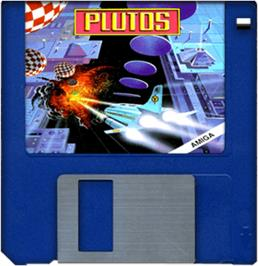 Cartridge artwork for Plutos on the Commodore Amiga.