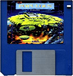 Cartridge artwork for Populous: The Final Frontier on the Commodore Amiga.