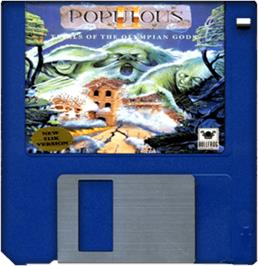 Cartridge artwork for Populous II: Trials of the Olympian Gods on the Commodore Amiga.