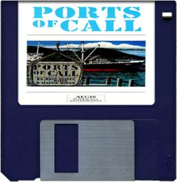 Cartridge artwork for Ports of Call on the Commodore Amiga.