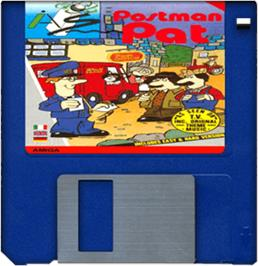 Cartridge artwork for Postman Pat on the Commodore Amiga.