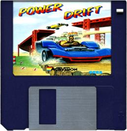 Cartridge artwork for Power Drift on the Commodore Amiga.