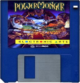 Cartridge artwork for Powermonger on the Commodore Amiga.