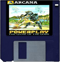 Cartridge artwork for Powerplay: The Game of the Gods on the Commodore Amiga.