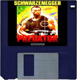 Cartridge artwork for Predator on the Commodore Amiga.
