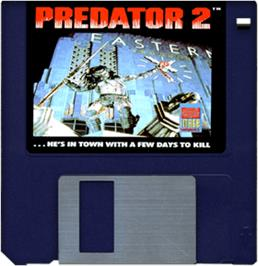 Cartridge artwork for Predator 2 on the Commodore Amiga.