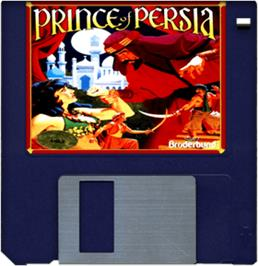 Cartridge artwork for Prince of Persia on the Commodore Amiga.