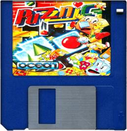 Cartridge artwork for Puzznic on the Commodore Amiga.
