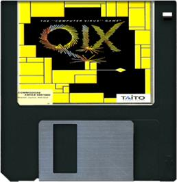 Cartridge artwork for Qix on the Commodore Amiga.