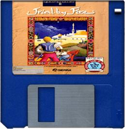 Cartridge artwork for Quest for Glory II: Trial by Fire on the Commodore Amiga.