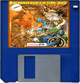 Cartridge artwork for Quest for the Time-bird on the Commodore Amiga.