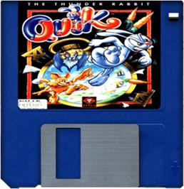 Cartridge artwork for Quik the Thunder Rabbit on the Commodore Amiga.