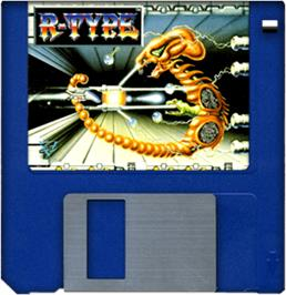 Cartridge artwork for R-Type on the Commodore Amiga.