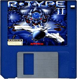 Cartridge artwork for R-Type II on the Commodore Amiga.
