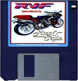 Cartridge artwork for RVF Honda on the Commodore Amiga.
