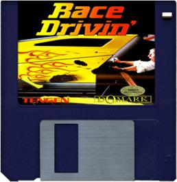 Cartridge artwork for Race Drivin' on the Commodore Amiga.