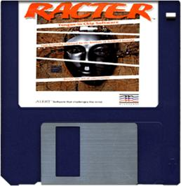 Cartridge artwork for Racter on the Commodore Amiga.