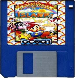 Cartridge artwork for Rainbow Islands on the Commodore Amiga.