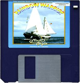 Cartridge artwork for Rainbow Warrior on the Commodore Amiga.