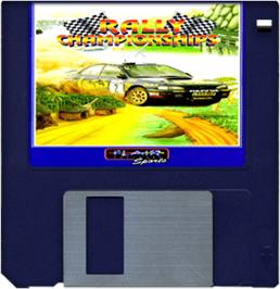 Cartridge artwork for Rally Championships on the Commodore Amiga.