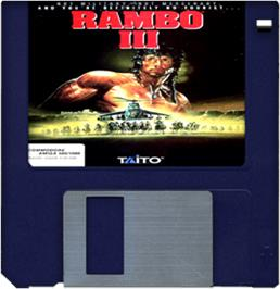 Cartridge artwork for Rambo III on the Commodore Amiga.