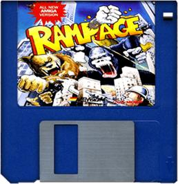 Cartridge artwork for Rampage on the Commodore Amiga.