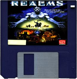 Cartridge artwork for Realms on the Commodore Amiga.