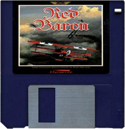 Cartridge artwork for Red Baron on the Commodore Amiga.