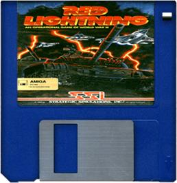 Cartridge artwork for Red Lightning on the Commodore Amiga.
