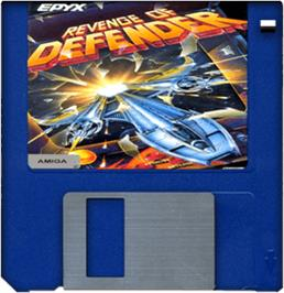 Cartridge artwork for Revenge of Defender on the Commodore Amiga.
