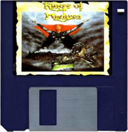 Cartridge artwork for Rings of Medusa on the Commodore Amiga.
