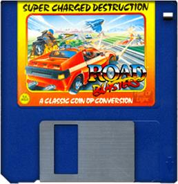 Cartridge artwork for Road Blasters on the Commodore Amiga.