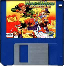 Cartridge artwork for Robin Hood: Legend Quest on the Commodore Amiga.