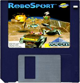 Cartridge artwork for RoboSport on the Commodore Amiga.