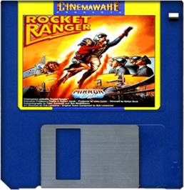 Cartridge artwork for Rocket Ranger on the Commodore Amiga.
