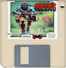 Cartridge artwork for Rogue Trooper on the Commodore Amiga.