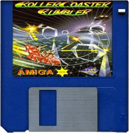 Cartridge artwork for Roller Coaster Rumbler on the Commodore Amiga.