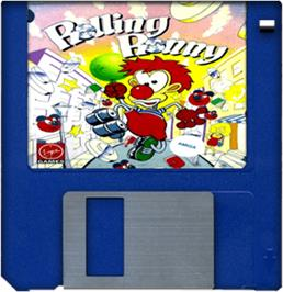 Cartridge artwork for Rolling Ronny on the Commodore Amiga.