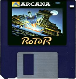 Cartridge artwork for Rotor on the Commodore Amiga.
