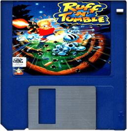 Cartridge artwork for Ruff 'n' Tumble on the Commodore Amiga.