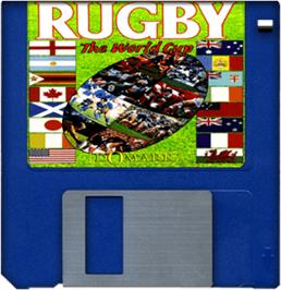 Cartridge artwork for Rugby: The World Cup on the Commodore Amiga.