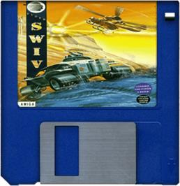 Cartridge artwork for S.W.I.V. on the Commodore Amiga.
