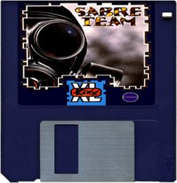 Cartridge artwork for Sabre Team on the Commodore Amiga.
